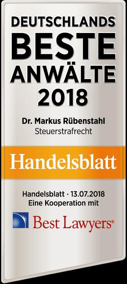 Dr. Markus Rübenstahl (Steuerstrafrecht) - Beste Anwälte 2018